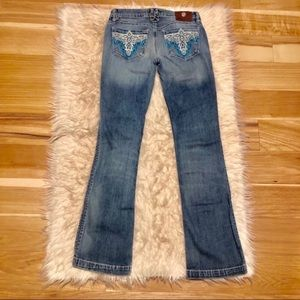Antik Denim Two Tone Embroidered Bootcut Jeans